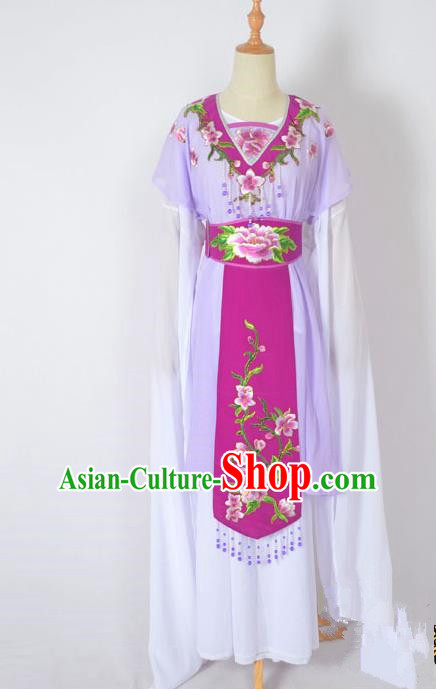 Traditional Chinese Professional Peking Opera Nobility Lady Water Sleeve Costume, China Beijing Opera Shaoxing Opera Royal Princess Embroidery Peony Purple Dress Clothing