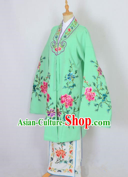 Traditional Chinese Professional Peking Opera Nobility Lady Costume Green Mantel, China Beijing Opera Shaoxing Opera Embroidery Diva Hua Tan Dress Clothing