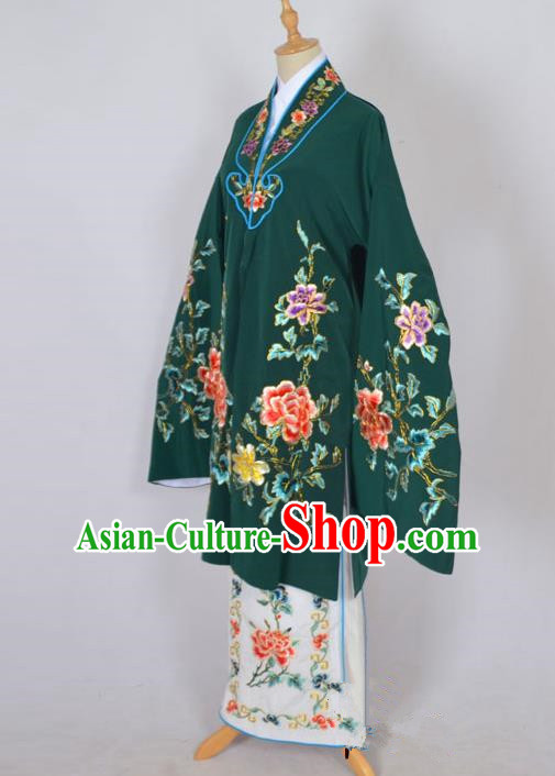 Traditional Chinese Professional Peking Opera Nobility Lady Costume Deep Green Mantel, China Beijing Opera Shaoxing Opera Embroidery Diva Hua Tan Dress Clothing