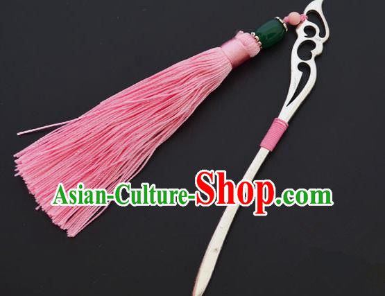 Traditional Handmade Chinese Classical Peking Opera Pink Tassel Hair Accessories, China Beijing Opera Step Shake Hairpins