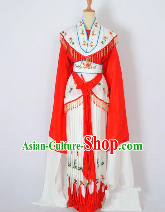 Traditional Chinese Professional Peking Opera Nobility Lady Costume Red Dress, China Beijing Opera Shaoxing Opera Embroidery Diva Hua Tan Dress Clothing