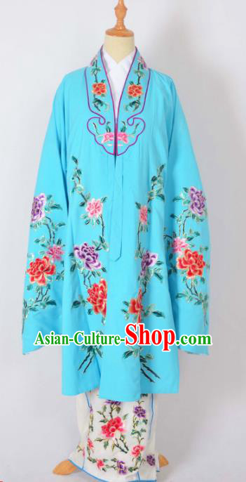 Traditional Chinese Professional Peking Opera Nobility Lady Costume Blue Mantel, China Beijing Opera Shaoxing Opera Embroidery Diva Hua Tan Dress Clothing