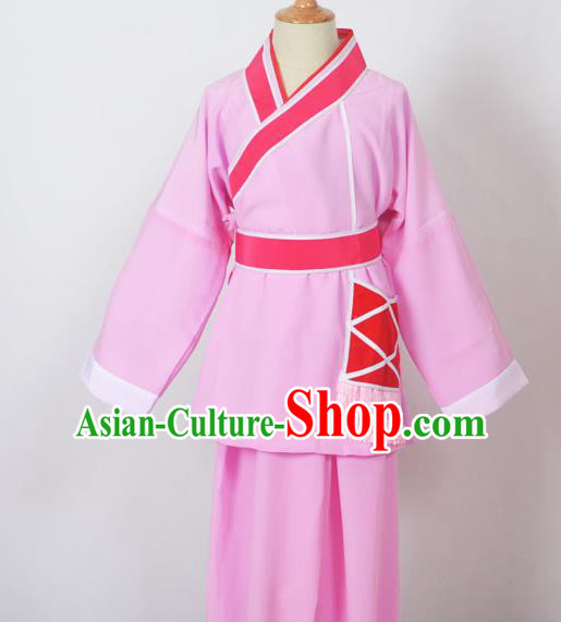 Traditional Chinese Professional Peking Opera Children Costume, China Beijing Opera Shaoxing Opera Village Kids Pink Uniform Livehand Clothing