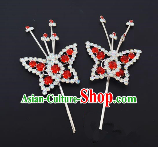 Traditional Handmade Chinese Classical Peking Opera Diva Hair Accessories, China Beijing Opera Hua Tan Red Crystal Butterfly Hairpins Headwear