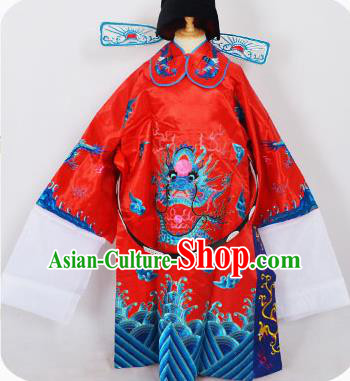 Traditional Chinese Professional Peking Opera Old Men Costume Red Embroidered Robe and Hat, China Beijing Opera Prime Minister Embroidery Robe Gwanbok Clothing