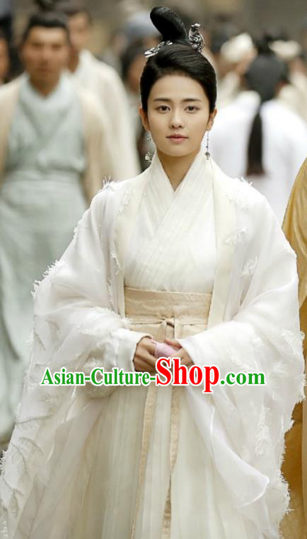 Traditional Chinese Northern and Southern Dynasties Imperial Princess Costume and Headpiece Complete Set, China Ancient Palace Lady Hanfu Dress Clothing for Women