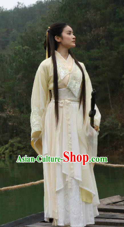 Traditional Chinese Ancient Jiang Hu Swordswoman Costume and Headpiece Complete Set, China Chivalrous Women Little Dragon Maiden Hanfu Dress Clothing