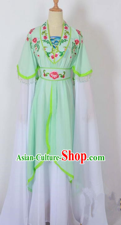 Traditional Chinese Professional Peking Opera Young Lady Costume Embroidery Green Dress, China Beijing Opera Diva Hua Tan Water Sleeve Clothing