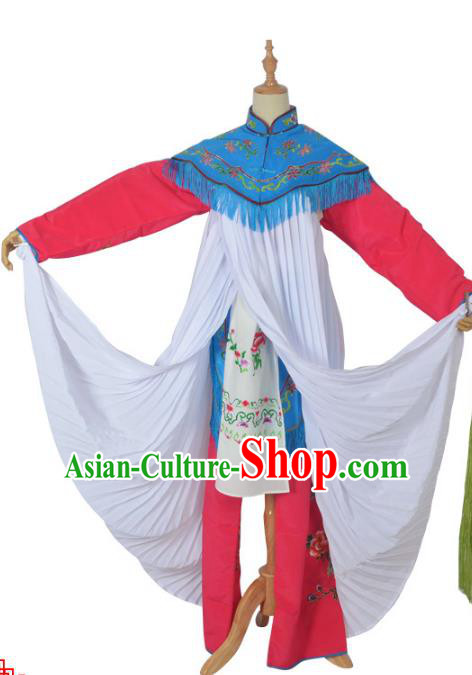 Traditional Chinese Professional Peking Opera Jordan Sitting Costume Embroidery Red Dress, China Beijing Opera Diva Hua Tan Clothing