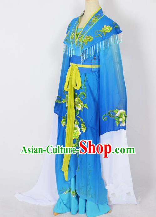 Traditional Chinese Professional Peking Opera Young Lady Princess Costume Blue Embroidery Dress, China Beijing Opera Diva Hua Tan Embroidered Robe Clothing