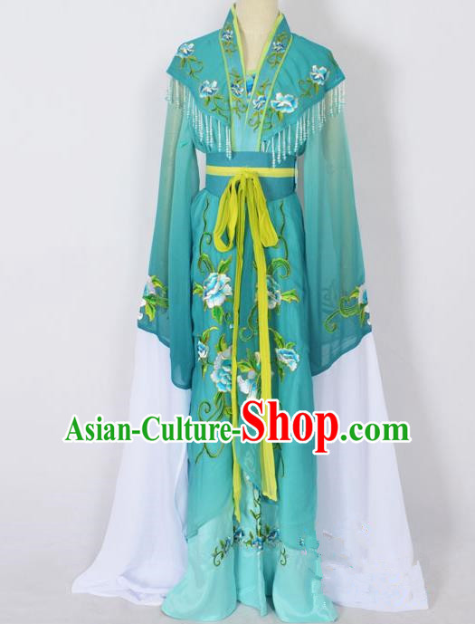 Traditional Chinese Professional Peking Opera Young Lady Princess Costume Green Embroidery Dress, China Beijing Opera Diva Hua Tan Embroidered Robe Clothing