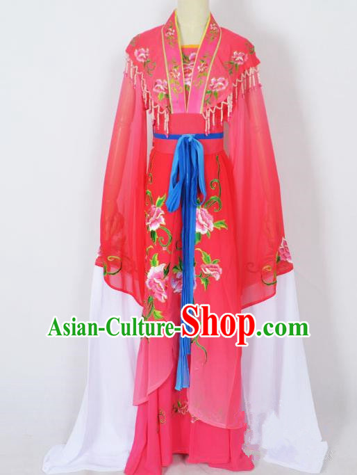 Traditional Chinese Professional Peking Opera Young Lady Princess Costume Rosy Embroidery Dress, China Beijing Opera Diva Hua Tan Embroidered Robe Clothing