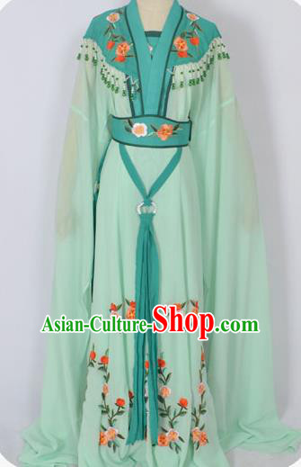 Traditional Chinese Professional Peking Opera Young Lady Seven Fairies Costume Green Embroidery Dress, China Beijing Opera Diva Hua Tan Embroidered Robe Clothing