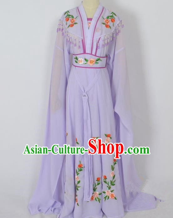 Traditional Chinese Professional Peking Opera Young Lady Seven Fairies Costume Purple Embroidery Dress, China Beijing Opera Diva Hua Tan Embroidered Robe Clothing