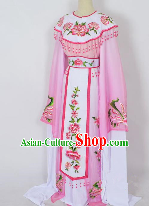 Traditional Chinese Professional Peking Opera Young Lady Princess Costume Pink Embroidery Peony Dress, China Beijing Opera Diva Hua Tan Embroidered Cloud Shoulder Clothing