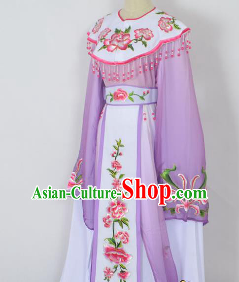 Traditional Chinese Professional Peking Opera Young Lady Princess Costume Purple Embroidery Peony Dress, China Beijing Opera Diva Hua Tan Embroidered Cloud Shoulder Clothing