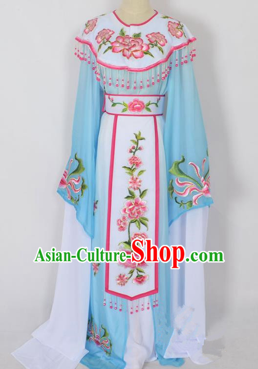 Traditional Chinese Professional Peking Opera Young Lady Princess Costume Blue Embroidery Peony Dress, China Beijing Opera Diva Hua Tan Embroidered Cloud Shoulder Clothing