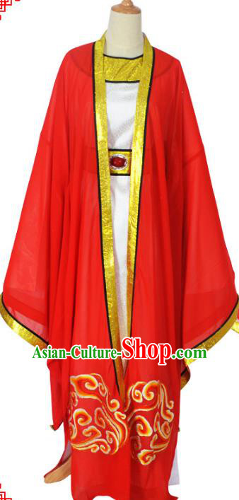 Traditional Chinese Professional Peking Opera Young Men Wedding Costume Red Embroidered Robe, China Beijing Opera Niche Embroidery Robe Gwanbok Clothing