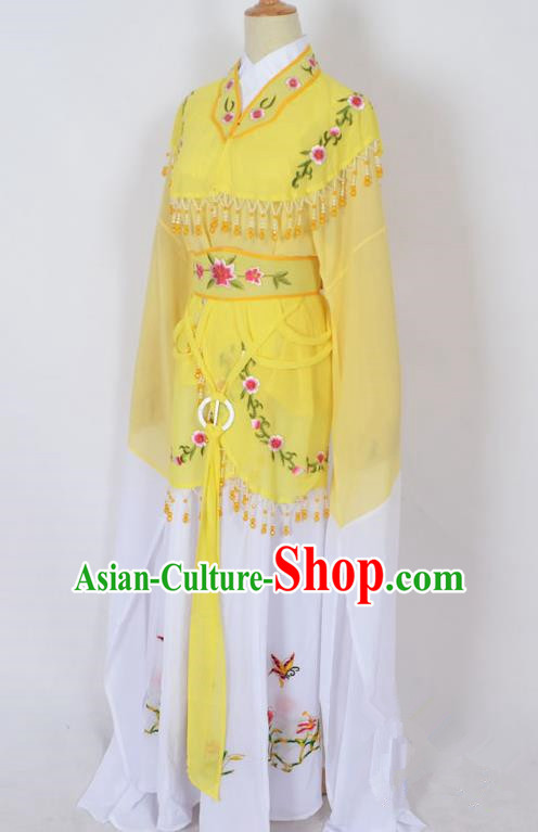 Traditional Chinese Professional Peking Opera Young Lady Jordan-Sitting Costume Yellow Embroidery Dress, China Beijing Opera Diva Hua Tan Embroidered Princess Clothing