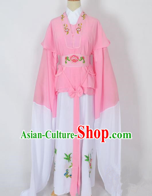 Traditional Chinese Professional Peking Opera Jordan-Sitting Water Sleeve Costume Pink Embroidery Dress, China Beijing Opera Diva Hua Tan Embroidered Clothing