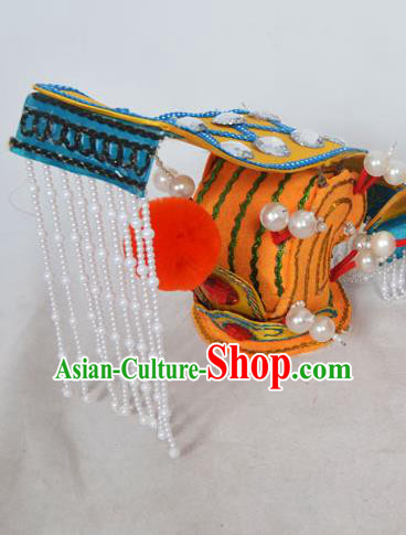 Traditional Handmade Chinese Classical Peking Opera Emperor Accessories Yellow Hat, China Beijing Opera King Headwear
