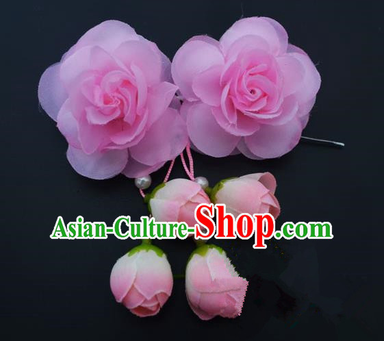 Traditional Handmade Chinese Classical Peking Opera Young Lady Hair Accessories Pink Temples Flowers, China Beijing Opera Princess Headwear Tassel Hairpins