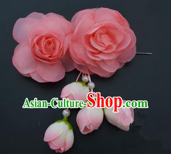 Traditional Handmade Chinese Classical Peking Opera Young Lady Hair Accessories Peach Pink Temples Flowers, China Beijing Opera Princess Headwear Tassel Hairpins