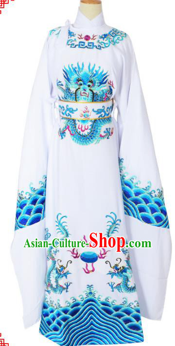 Traditional Chinese Professional Peking Opera Lang Scholar Costume White Embroidery Robe, China Beijing Opera Niche Embroidered Robe Clothing
