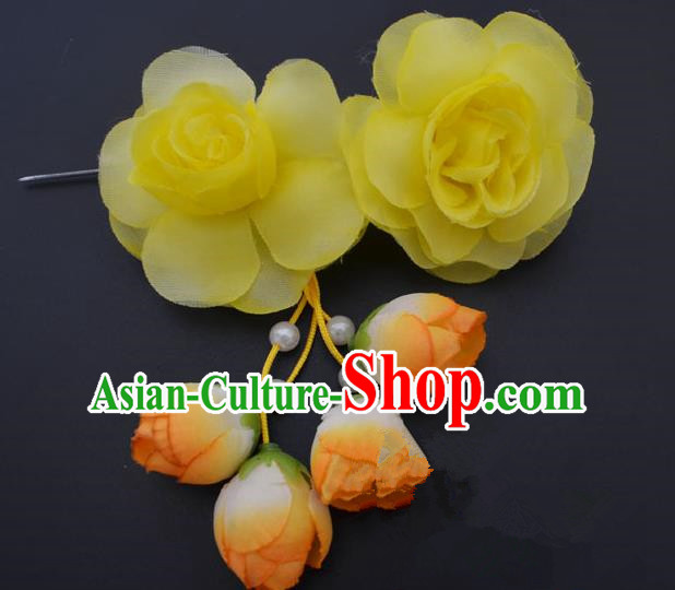 Traditional Handmade Chinese Classical Peking Opera Young Lady Hair Accessories Yellow Temples Flowers, China Beijing Opera Princess Headwear Tassel Hairpins