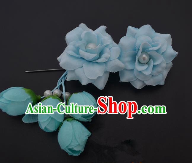 Traditional Handmade Chinese Classical Peking Opera Young Lady Hua Tan Hair Accessories Light Blue Temples Flowers, China Beijing Opera Diva Princess Headwear Tassel Hairpins
