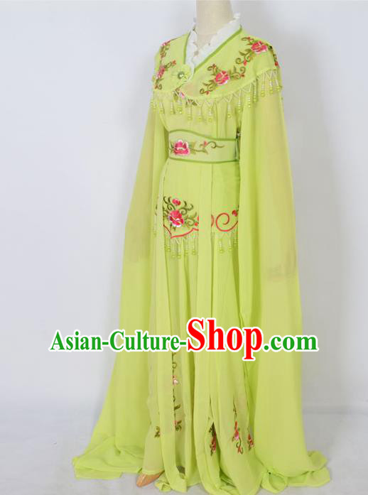 Traditional Chinese Professional Peking Opera Young Lady Costume Green Embroidery Dress, China Beijing Opera Diva Hua Tan Embroidered Clothing