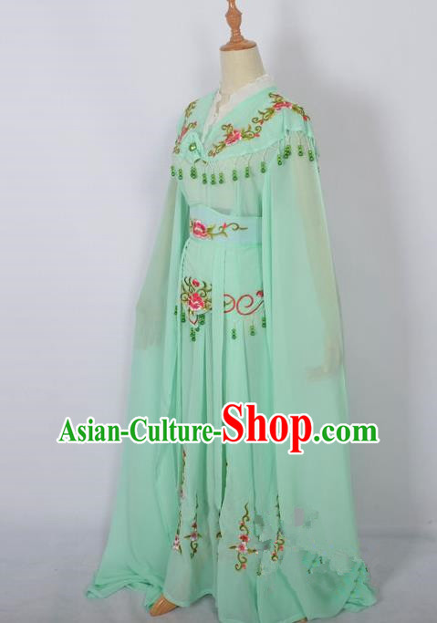Traditional Chinese Professional Peking Opera Young Lady Costume Light Green Embroidery Dress, China Beijing Opera Diva Hua Tan Embroidered Clothing