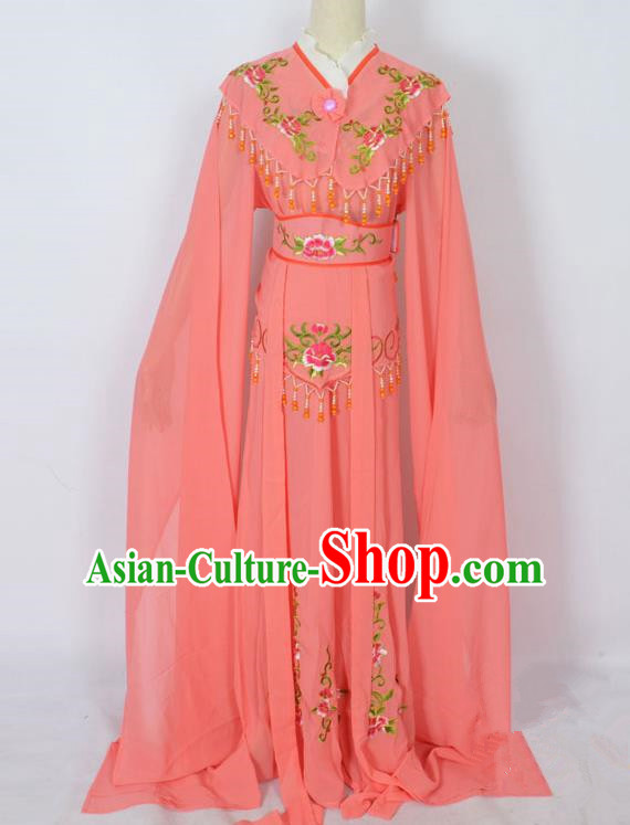 Traditional Chinese Professional Peking Opera Young Lady Costume Watermelon Red Embroidery Dress, China Beijing Opera Diva Hua Tan Embroidered Clothing