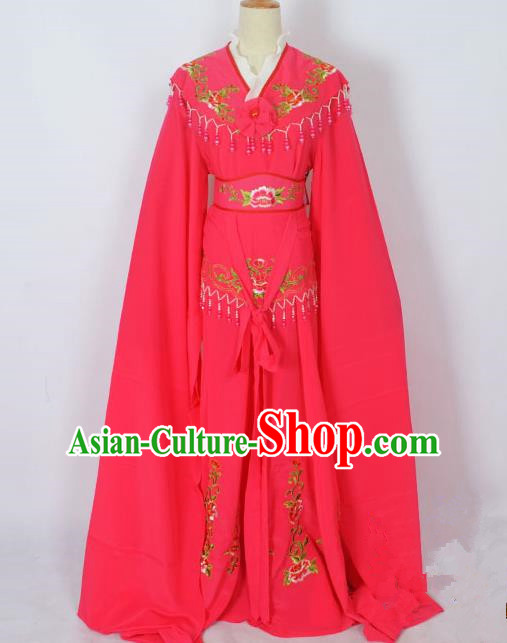 Traditional Chinese Professional Peking Opera Young Lady Costume Rosy Embroidery Dress, China Beijing Opera Diva Hua Tan Embroidered Clothing