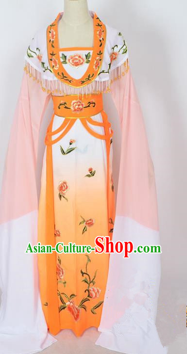 Traditional Chinese Professional Peking Opera Young Lady Princess Costume Orange Embroidery Dress, China Beijing Opera Diva Hua Tan Embroidered Clothing