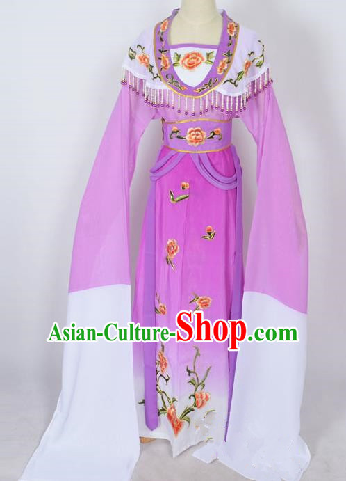 Traditional Chinese Professional Peking Opera Young Lady Princess Costume Purple Embroidery Dress, China Beijing Opera Diva Hua Tan Embroidered Clothing