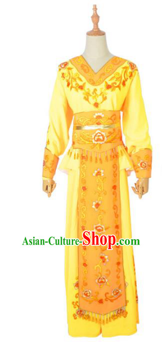Traditional Chinese Professional Peking Opera Female Warrior Yellow Costume, China Beijing Opera Blues Swordplay Embroidered Clothing