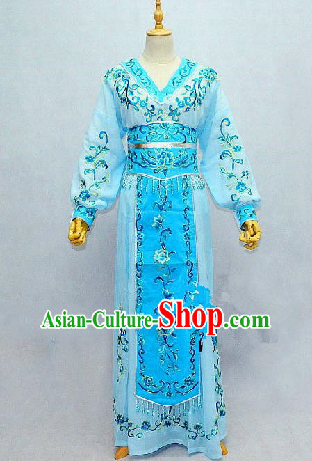 Traditional Chinese Professional Peking Opera Female Warrior Blue Costume, China Beijing Opera Blues Swordplay Embroidered Clothing