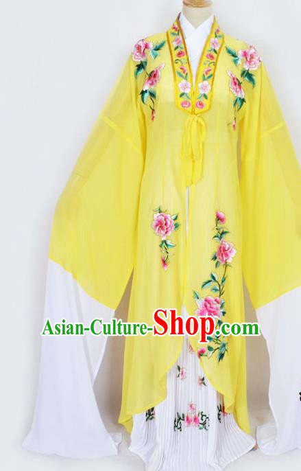 Traditional Chinese Professional Peking Opera Diva Princess Costume Embroidery Yellow Mantel, China Beijing Opera Hua Tan Young Lady Embroidered Clothing
