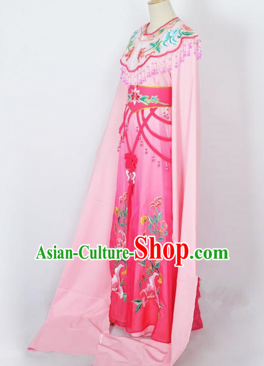Traditional Chinese Professional Peking Opera Diva Young Lady Princess Costume Pink Embroidery Dress, China Beijing Opera Hua Tan Embroidered Clothing