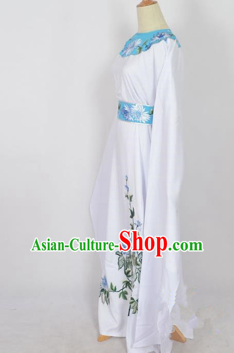 Traditional Chinese Professional Peking Opera Young Men Niche Costume White Embroidery Robe, China Beijing Opera Nobility Childe Scholar Embroidered Clothing