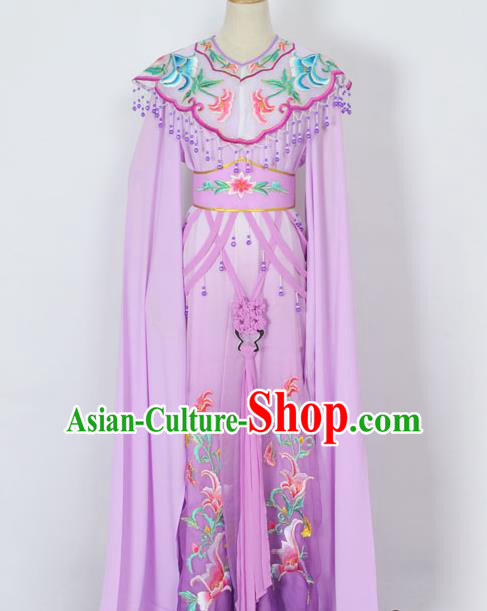 Traditional Chinese Professional Peking Opera Diva Young Lady Princess Costume Purple Embroidery Dress, China Beijing Opera Hua Tan Embroidered Clothing