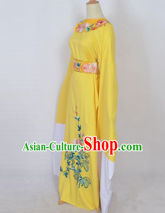 Traditional Chinese Professional Peking Opera Young Men Niche Costume Yellow Embroidery Robe, China Beijing Opera Nobility Childe Scholar Embroidered Clothing