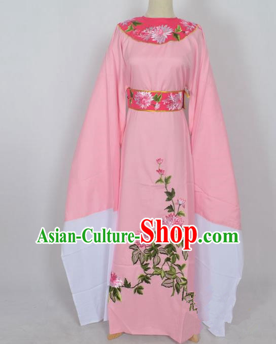Traditional Chinese Professional Peking Opera Young Men Niche Costume Pink Embroidery Robe, China Beijing Opera Nobility Childe Scholar Embroidered Clothing
