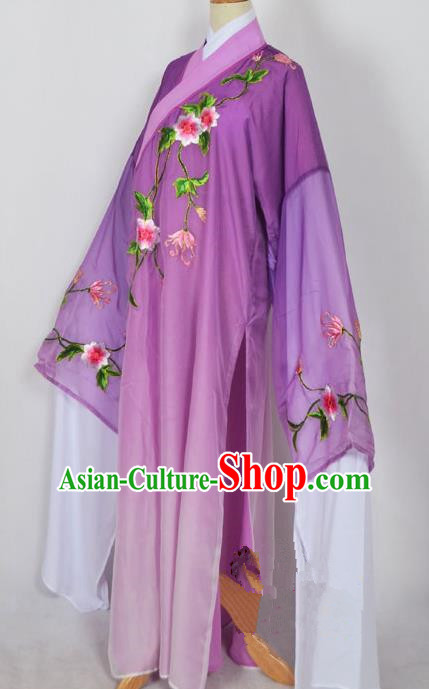 Traditional Chinese Professional Peking Opera Young Men Niche Water Sleeve Costume Purple Embroidery Robe, China Beijing Opera Nobility Childe Scholar Embroidered Clothing
