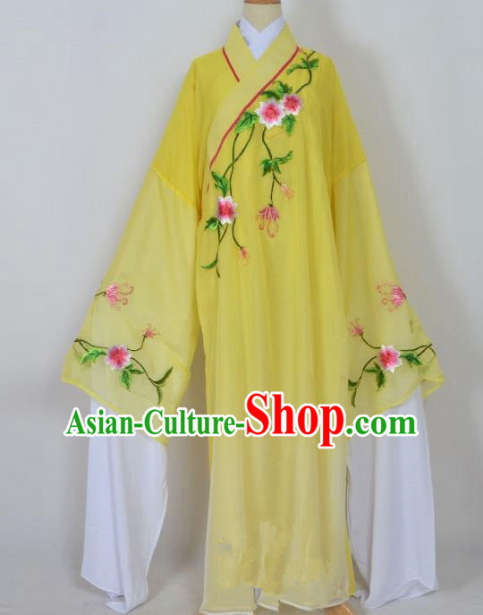 Traditional Chinese Professional Peking Opera Young Men Niche Water Sleeve Costume Yellow Embroidery Robe, China Beijing Opera Nobility Childe Scholar Embroidered Clothing