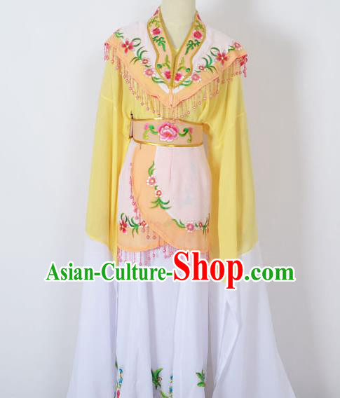 Traditional Chinese Professional Peking Opera Young Women Costume Yellow Cloud Shoulder Dress, China Beijing Opera Diva Hua Tan Embroidered Clothing