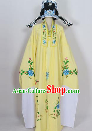 Traditional Chinese Professional Peking Opera Young Men Niche Costume Deep Yellow Embroidery Robe and Hat, China Beijing Opera Nobility Childe Scholar Embroidered Clothing