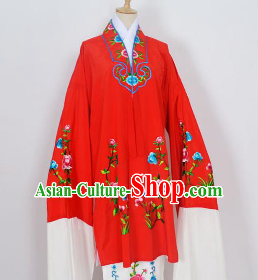 Traditional Chinese Professional Peking Opera Young Lady Costume Red Embroidery Mantel, China Beijing Opera Diva Hua Tan Embroidered Dress Clothing