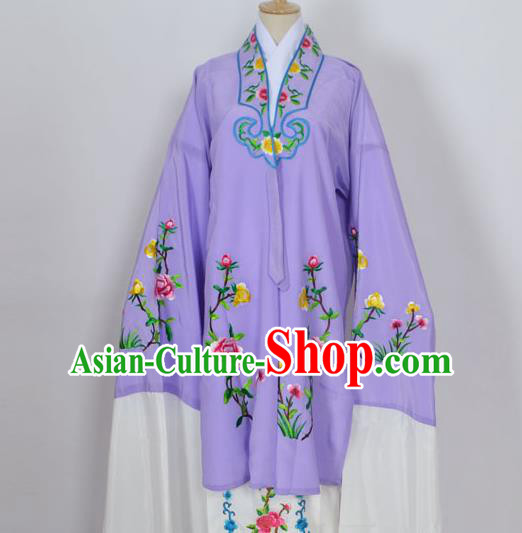 Traditional Chinese Professional Peking Opera Young Lady Costume Purple Embroidery Mantel, China Beijing Opera Diva Hua Tan Embroidered Dress Clothing
